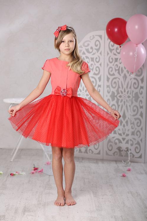 """платье для девочки М-412 """"Элен"""" коралл"""