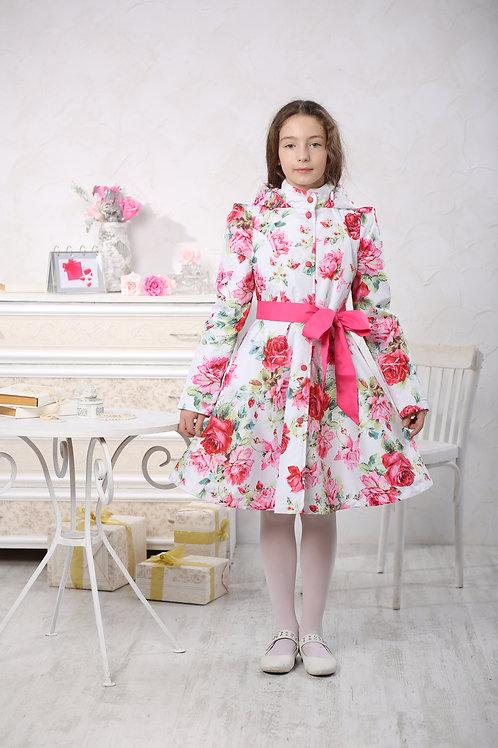 Плащ детский для девочки П 16-1 белые розы