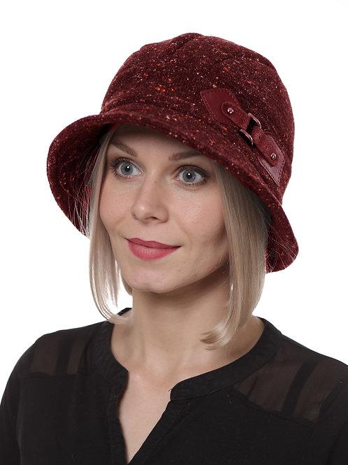 Шляпа женская КРИСТИ  Д071  бордовый твид