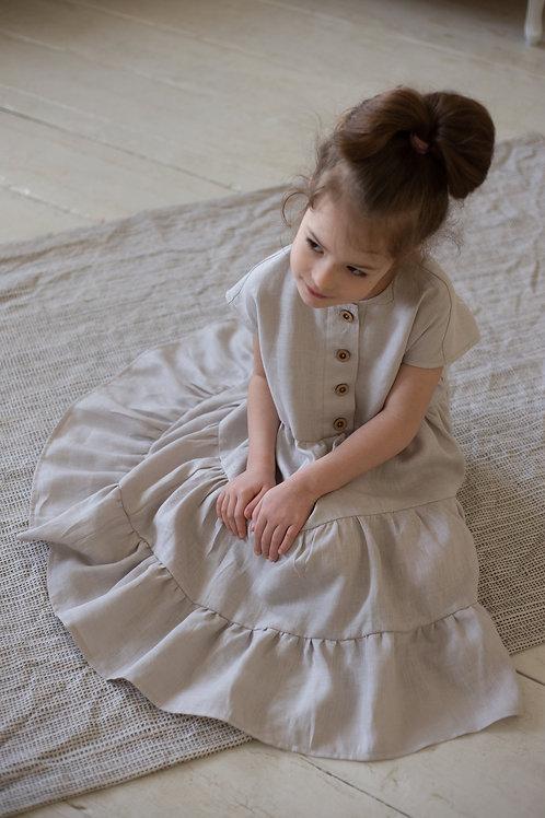 платье  для девочки Л21-1 Ярусы тонкий серый