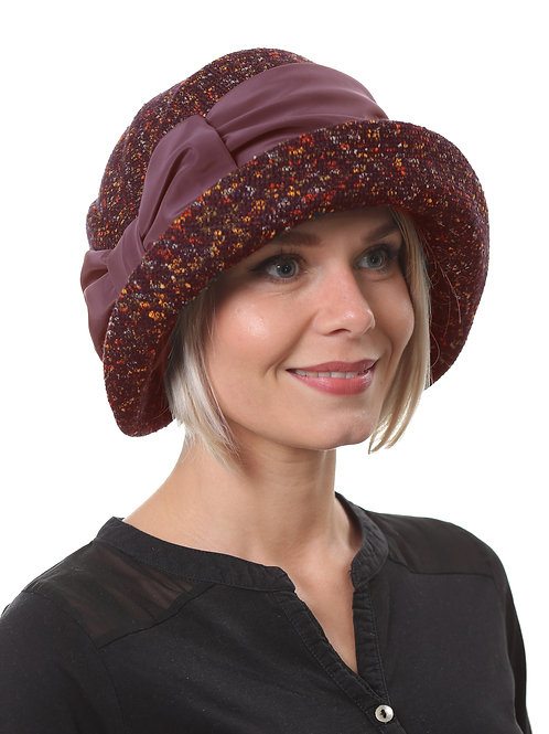 Шляпа женская  МАДЛЕН П1901 бордовый твид