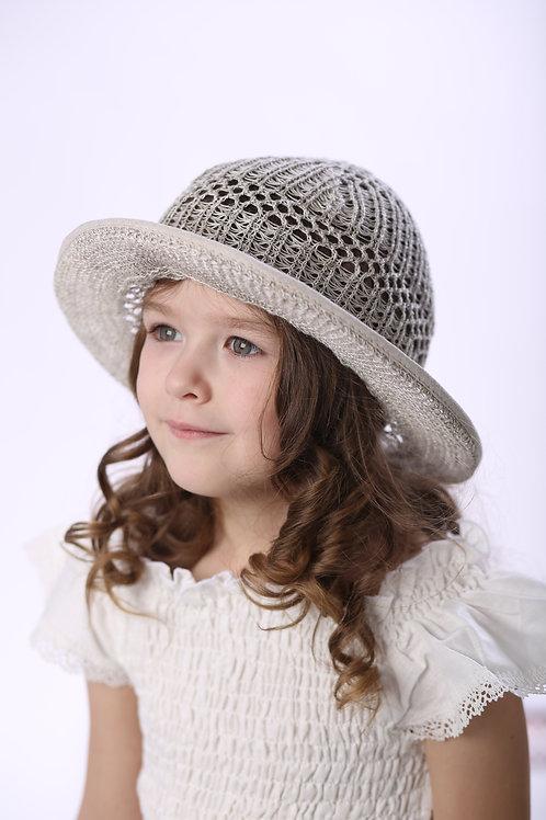 шляпа Ветерок вязаный лен натуральный