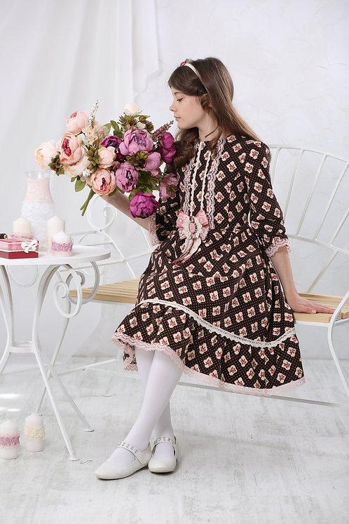 Платье МТ 17-1 вельвет розочки