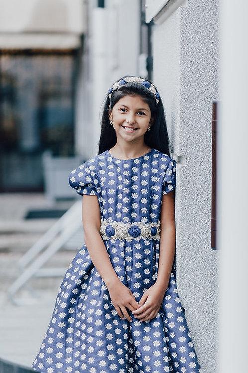 платье для девочки Вивьен Ж16-1 жаккард цветы индиго