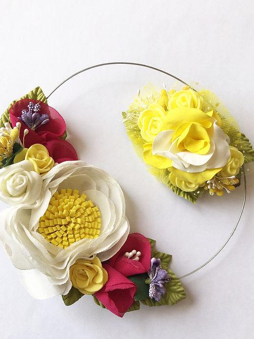 Колье+брошь цветы желтый