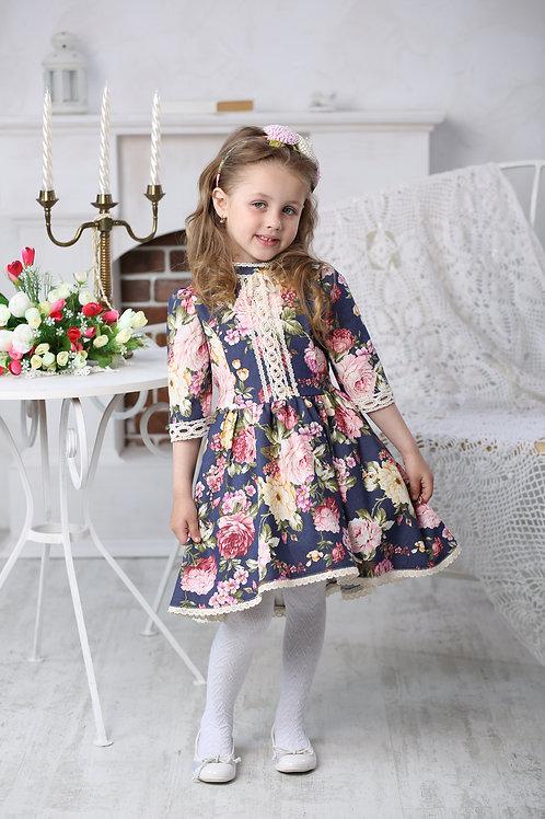 Платье для девочки  МТ-422 розы джинс