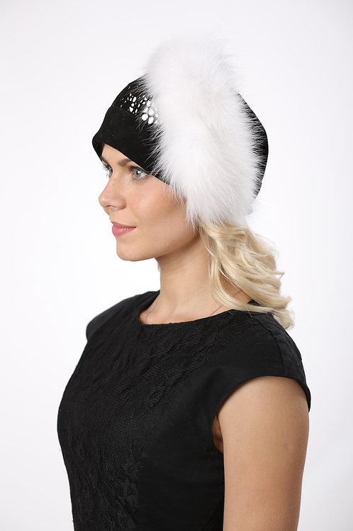 Шляпа женская СОФИЯ КМ049 черный+белый песец