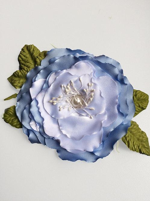Брошь Роза голубой