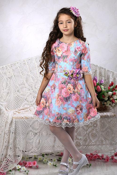платье для девочки Адель М-430 лазурь