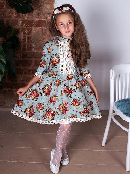 Платье  МТ-422 лен букет бирюза