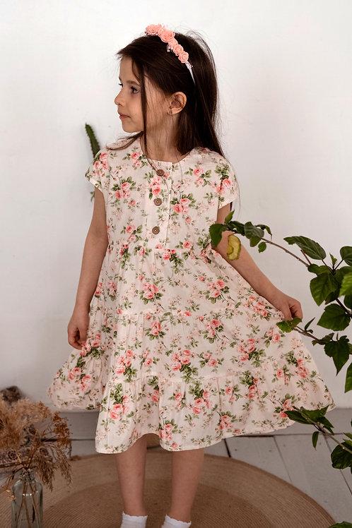 платье  для девочки Л21-1 Ярусы розочки поплин
