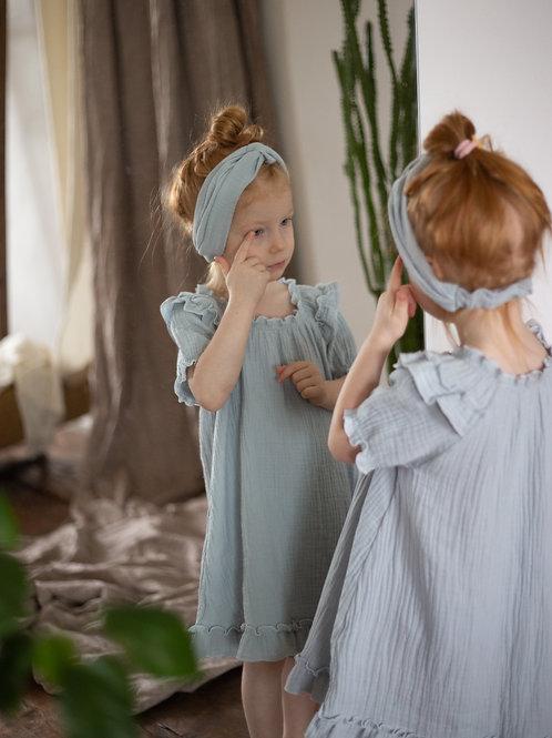 """М20-4 Платье для девочки """"Кнопка"""" голубой"""