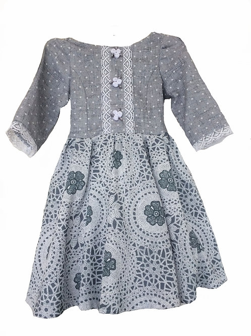 Платье для девочки МТ 17-31 серый горошек