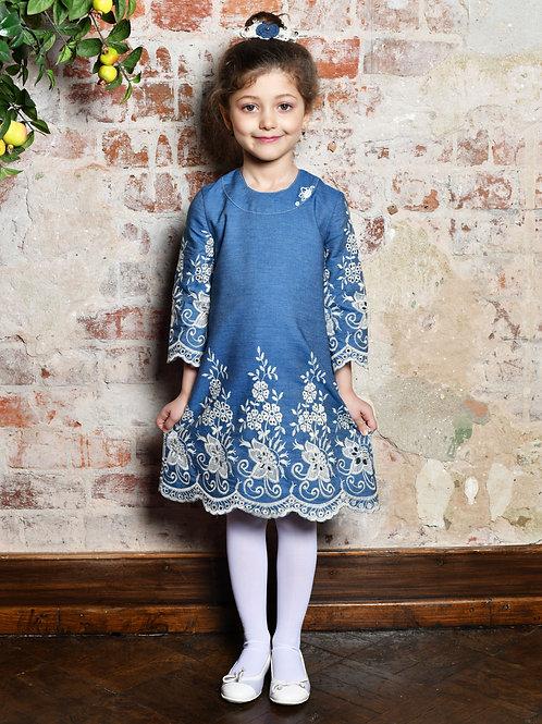 Платье МТ 18-8  джинс ажур