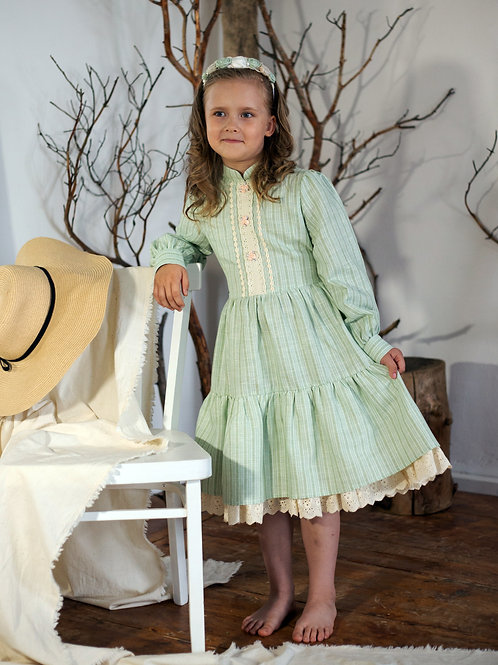 Платье  МТ19-8 лен полоска мята