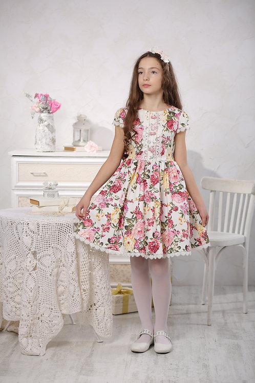 Платье МТ 16-4 цветы на белом
