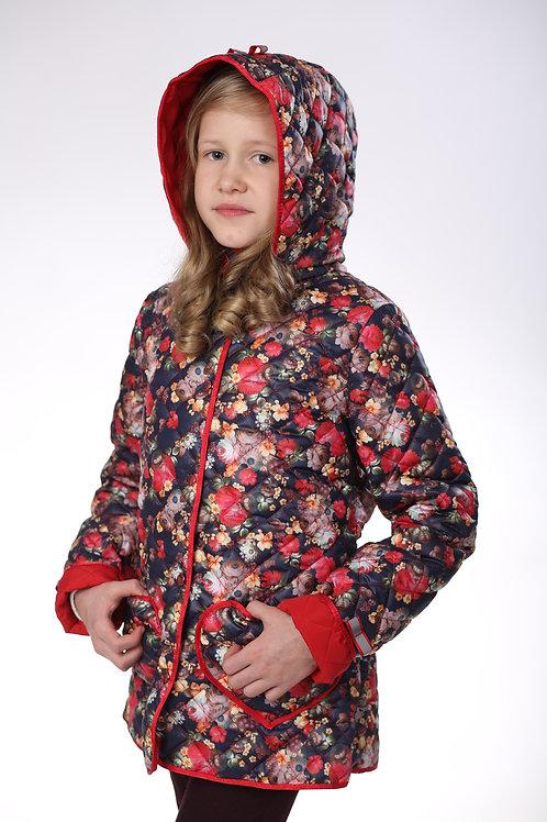 Куртка детская для девочки М-377 цветы