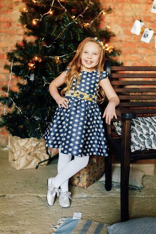 платье для девочки Элен Ж 19-2   жаккард цветы индиго