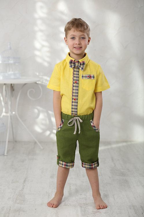 """Бриджи для мальчика Л17-17 """"Вело""""зеленый+клетка"""