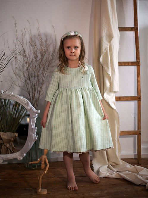 Платье  МТ19-11 лен полоска мята