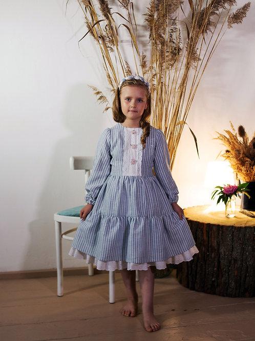 Платье  МТ19-9 лен полоска голубая