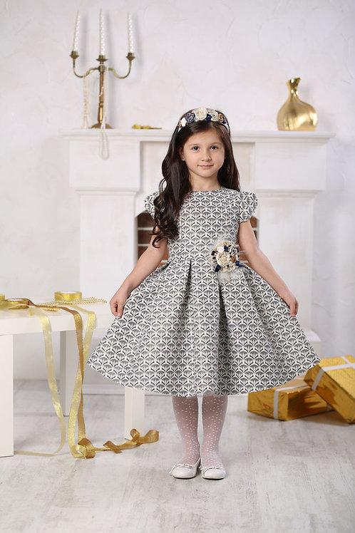 платье для девочки Вивьен Ж16-1 жаккард черный узор