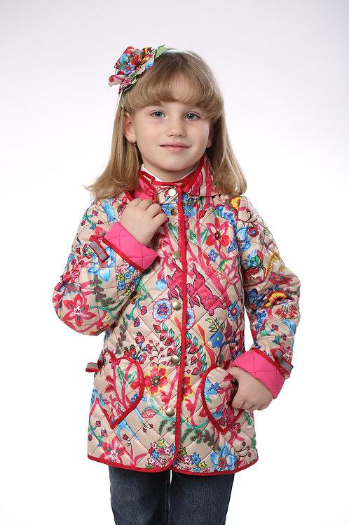 Куртка детская для девочки М-377 бежевый узор