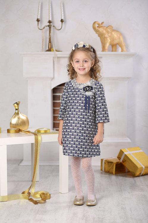 Платье для девочки  Люси Ж16-3 жаккард синий узор