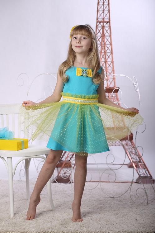 платье для девочки Эльфа М-411 бирюза