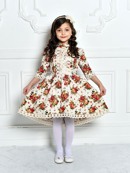 Платье  МТ-422 лен букет бежевый