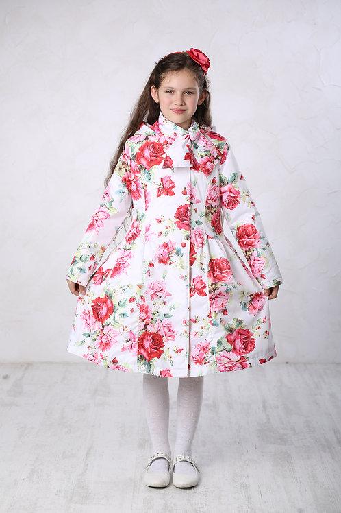 Плащ детский для девочки М306 белые розы