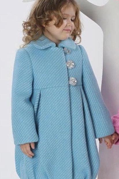 Пальто  детское  для девочки  Мила  М-266-1 голубой