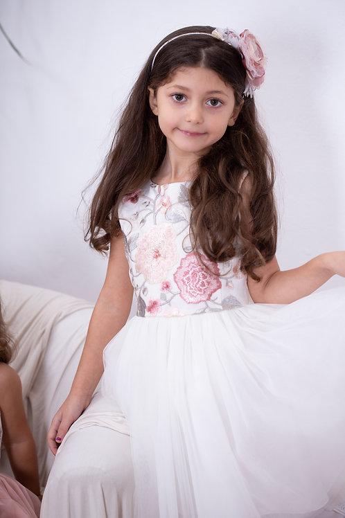 платье для девочки Неженка молочный атлас/молочный фатин
