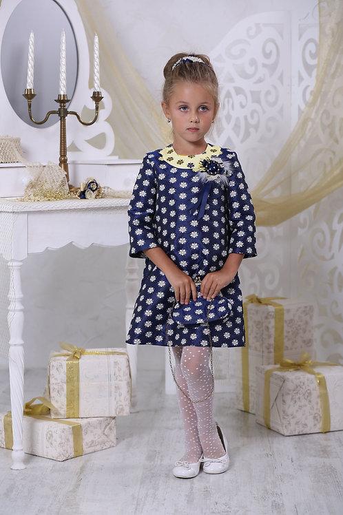 Платье для девочки  Люси Ж16-3 жаккард синий цветы