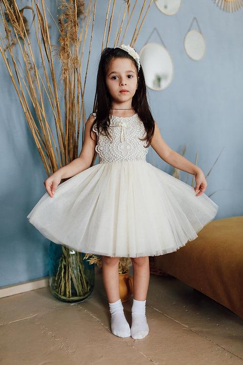 """платье для девочки Л 20-1 """"Бизе"""" белый горох"""