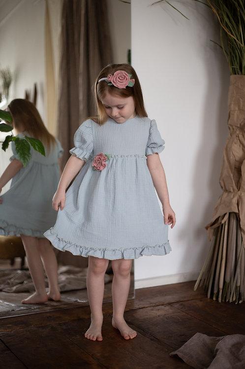 """М20-5 Платье для девочки """"Бетти"""" голубой"""