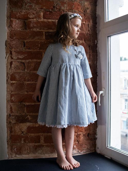 Платье  МТ19-11 лен полоска голубая