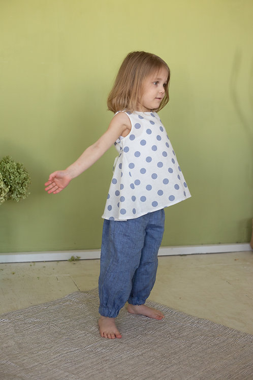 "Л 21-8 блуза для девочки ""ELF"" лен горох джинс"