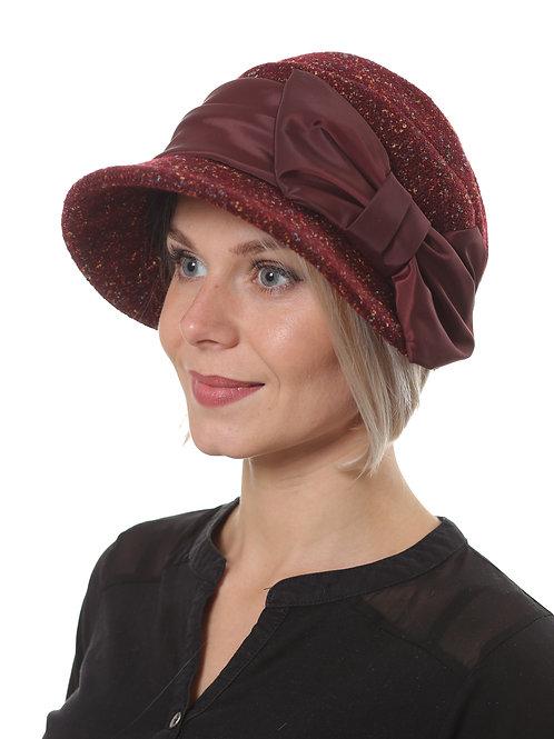 Шляпа женская ЖАННА  П1902 бордовый твид