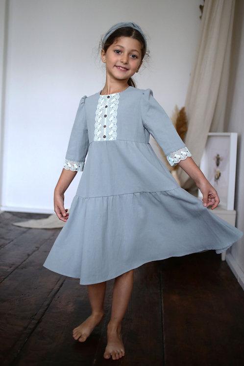 Платье  МТ20-5серо-голубой винтаж