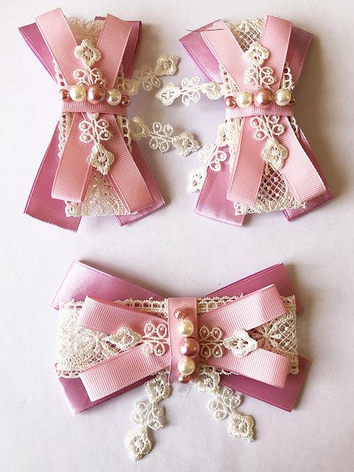 Заколки+брошь бантики розовые