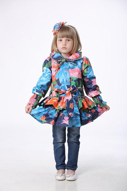Куртка детская для девочки М425 Синие цветы