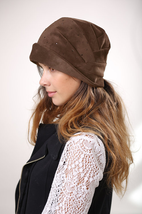 Шляпа женская ЛИРА стразы К1507 св.коричневый