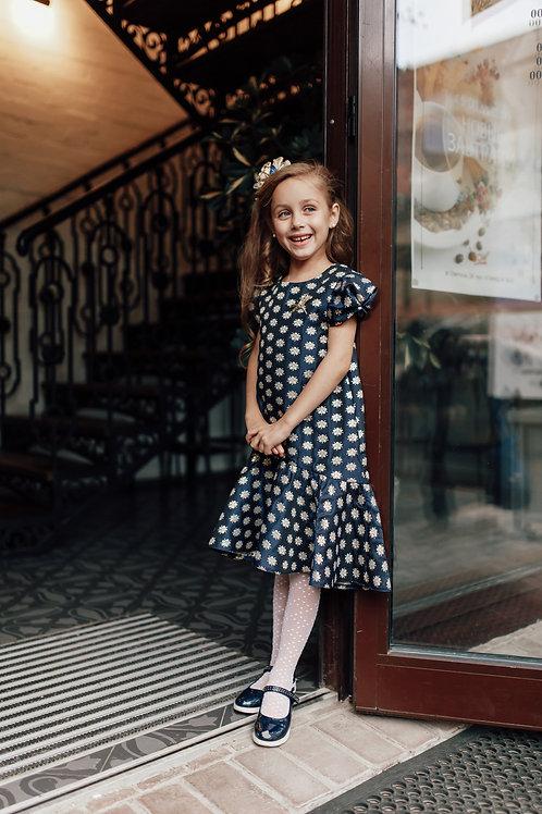 платье для девочки Джули  Ж16-2 жаккард синие цветы