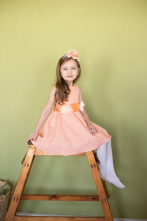 Платье для девочки Милана М-257  персик жаккард