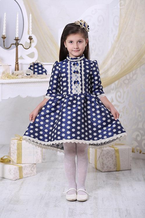 платье для девочки Злата Ж16-4 жаккард синие цветы