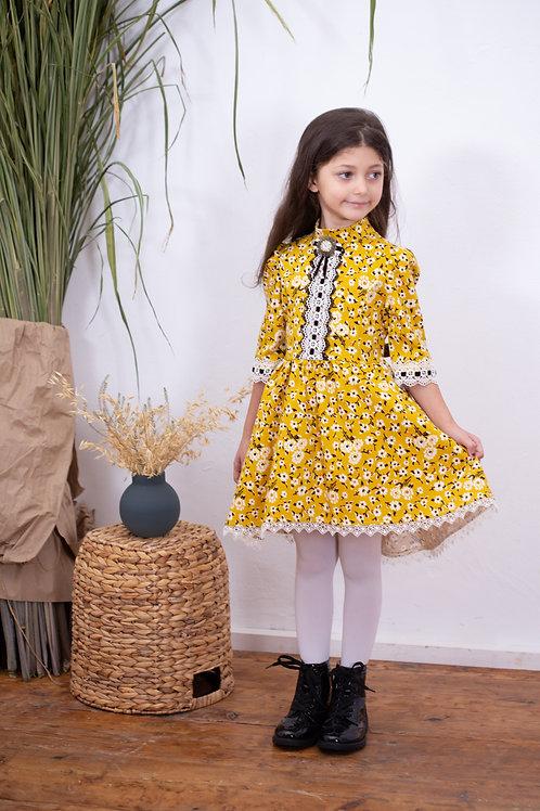 Платье для девочки МТ-422 горчица