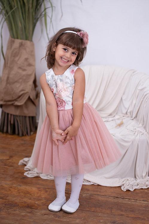 Платье для девочки Неженка молочный атлас/пудра фатин