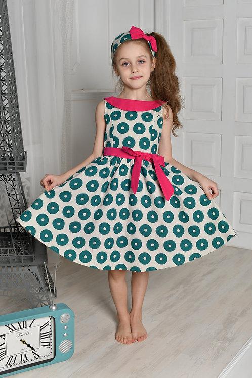 платье для девочки Л19-5 Забава изумруд