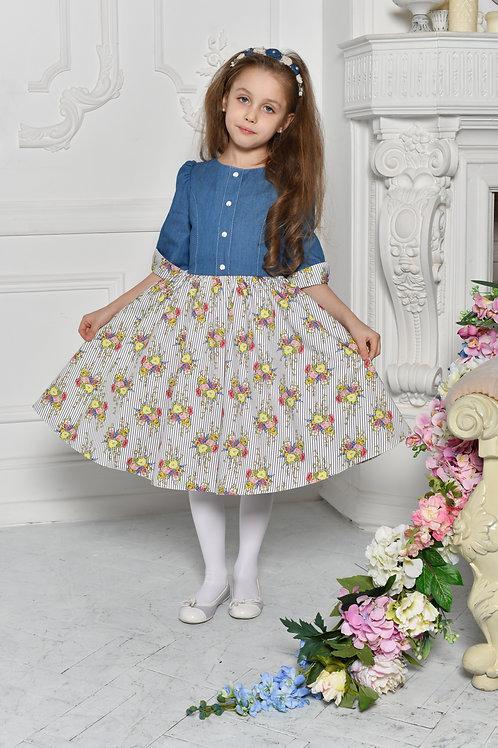 Платье  МТ19-13 джинс +полоска хлопок